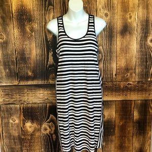 Loft - Black/White Striped Racerback Dress - M